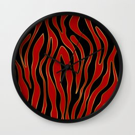 Zebra Red and Gold Wall Clock