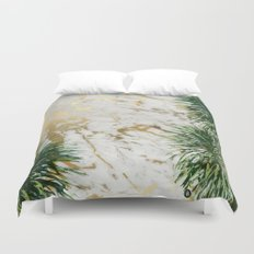 gold marble texture with palm trees Duvet Cover