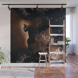 Black Kitty Halloween Wall Mural