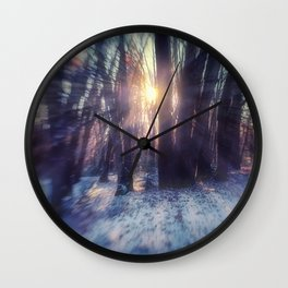 Breaking Through light in the woods Wall Clock