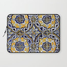 Ornate Blue, Yellow and White Portuguese Tile Laptop Sleeve