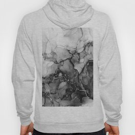 Black White Silver Marble Ink Texture Hoody
