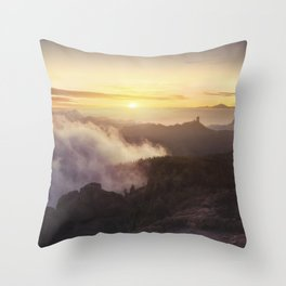 Sunset over the clouds Throw Pillow