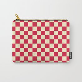 Cream Yellow and Crimson Red Checkerboard Carry-All Pouch