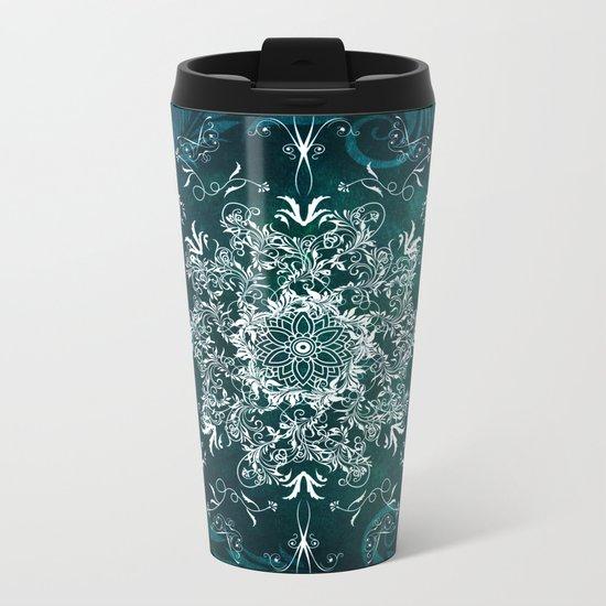 Elegant Floral leaf pattern Blue Green Metal Travel Mug