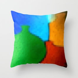 Colored jugs. Throw Pillow