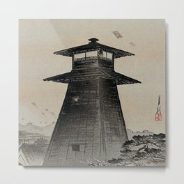 Japanese Woodcut Ogata, Gekkō, 1859-1920: Edo Kite Festival Metal Print