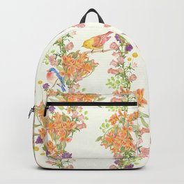 Romantic Vintage Design of Birds & Flowers - Natural colorful Backpack