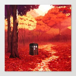 Tardis Art Autumn Canvas Print