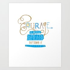 Courage Print, Hand Drawn Typography Art Print