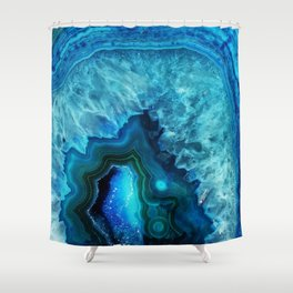 Bright Blue Agate Shower Curtain