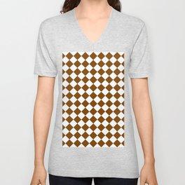 Diamonds - White and Chocolate Brown Unisex V-Neck