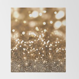 Pure Gold - Christmas Gold Glitter Throw Blanket
