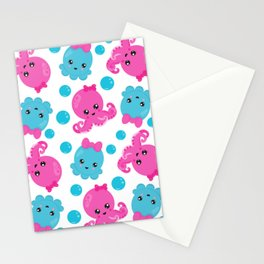 Octopus Pattern, Cute Octopus, Sea Animals Stationery Cards