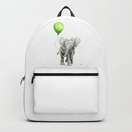 Baby Elephant with Green Balloon Backpack