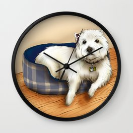 Dexter the Westie in His Doggie Bed Wall Clock