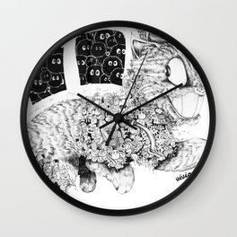Studio Ghibli Cat Bus Black & White Zentangle Drawing Doodle Wall Clock