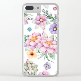 Pastel pink lavender green watercolor hand painted floral Clear iPhone Case
