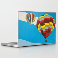 hot air balloons Laptop & iPad Skins featuring Three Hot Air Balloons by Shelley Chandelier