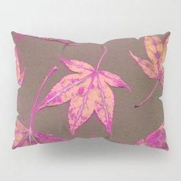 Japanese maple leaves - neon pink on khaki Pillow Sham