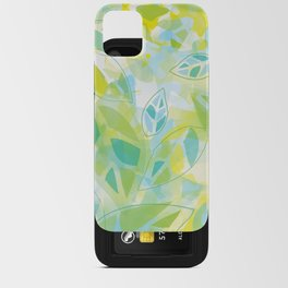 watercolor inspired leaves, spring palette iPhone Card Case