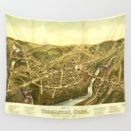 Aerial View of Thomaston, Connecticut (1879) Wall Tapestry
