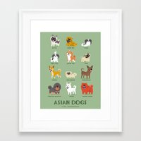 asian Framed Art Prints featuring ASIAN DOGS by DoggieDrawings