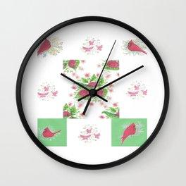 Cardinal Ladybug Pattern Wall Clock