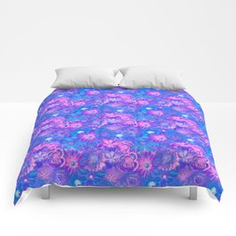 Dazzling Flowers - Red Passion Enchanted Flowers Comforters
