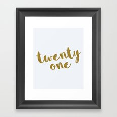Twenty One / 21 Glitter Birthday Quote Framed Art Print