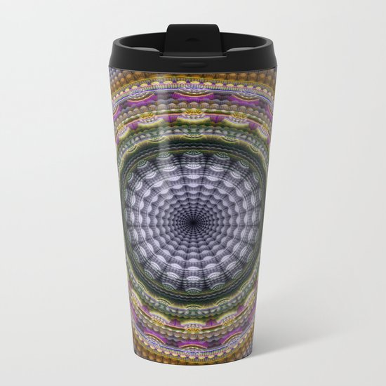 Mandala with optical effects and tribal patterns Metal Travel Mug