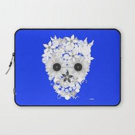 Skull Flowers white - blue Laptop Sleeve