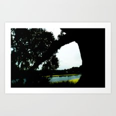 Peeking through the boughs  Art Print