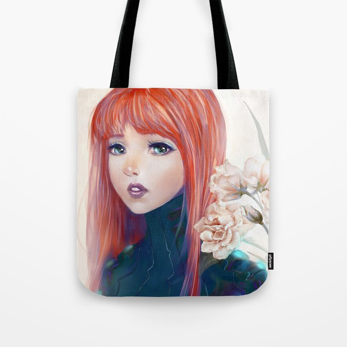Captain Goldfish - Anime sci-fi girl with red hair portrait Tote Bag