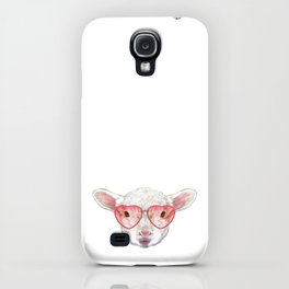 Lamb in Love! Portrait of Lamb with heart shaped sunglasses. iPhone Case