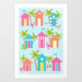 Tropical Cabanas Art Print