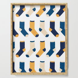 Colorful Socks Pattern - Blue & Yellow Serving Tray