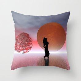 enjoy the full moon Throw Pillow