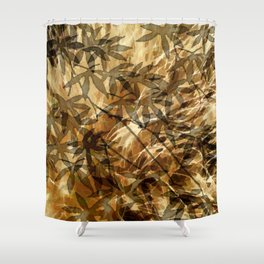 Golden Leaf Shadows Abstract Shower Curtain