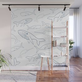 Simple Whale Parade Pattern Wall Mural