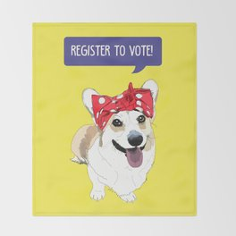 Political Pups - Register To Vote Corgi Throw Blanket