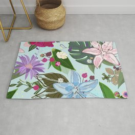 Lily, rose and bud. Vibrant color pattern Rug