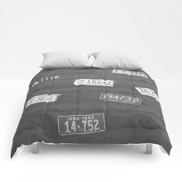 Old Plates Black and White  Comforters