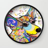 corgi Wall Clocks featuring Corgi by EloiseArt