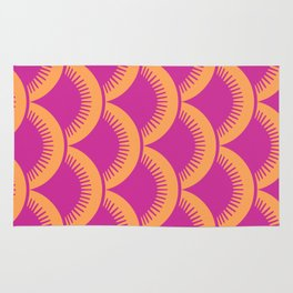 Japanese Fan Pattern Magenta and Orange Rug