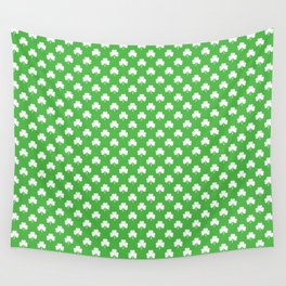 White Heart-Shaped Clover on Green St. Patrick's Day Wall Tapestry