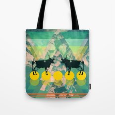 cows are dreaming of funky mountains Tote Bag