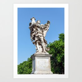 Angel with the Column at the Sant'Angelo bridge - Rome, Italy Art Print