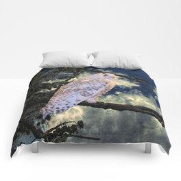 Snowy Owl Bird Stormy Sky A127 Comforters