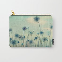 Whimsical Indigo Dandelion Flower Garden Carry-All Pouch